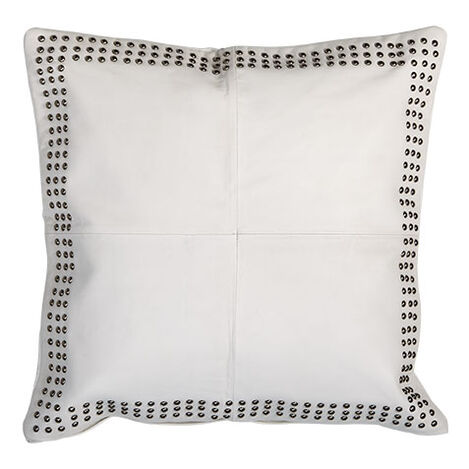 Studded White Leather Pillow Product Tile Image 065707