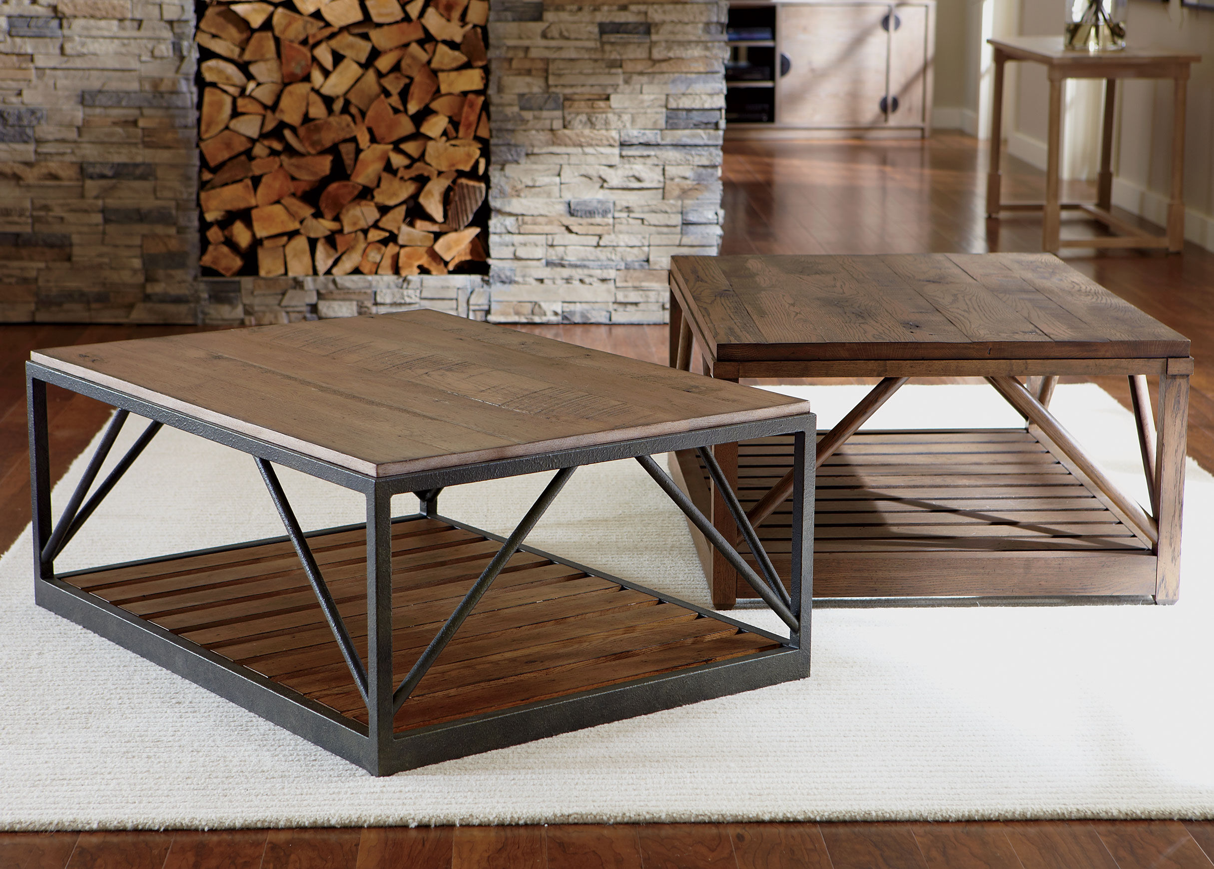 Charming Beam Metal Base Coffee Table Tables