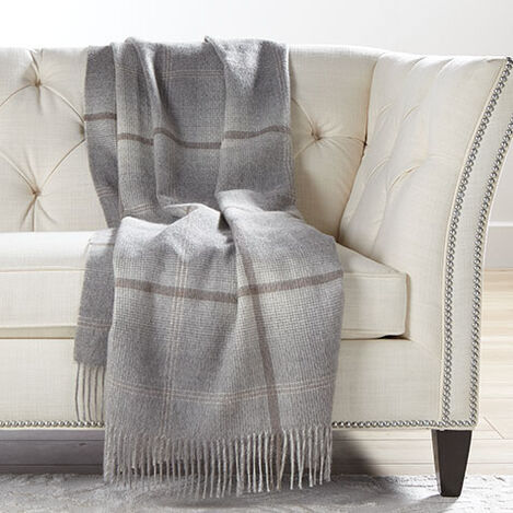 Alpaca Ombré Plaid Throw, Gray Product Tile Image 031672