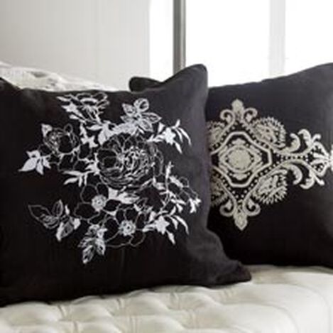 Black and White Floral Embroidered Linen Pillow ,  , hover_image