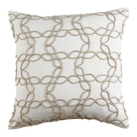 Wavy Jute Pillow, Ivory/Natural ,  , large