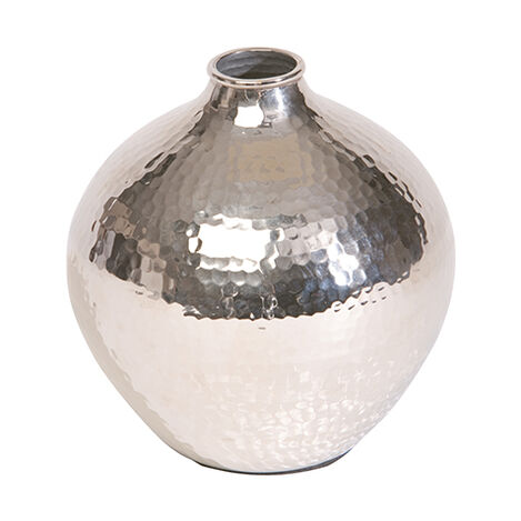 Nickel Hammered Bulb Vase ,  , large