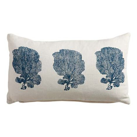 Block-Printed Fan Coral Pillow, Ivory/Blue ,  , large