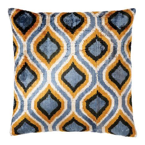 Silk Velvet Pillow, Blue/Gold ,  , large