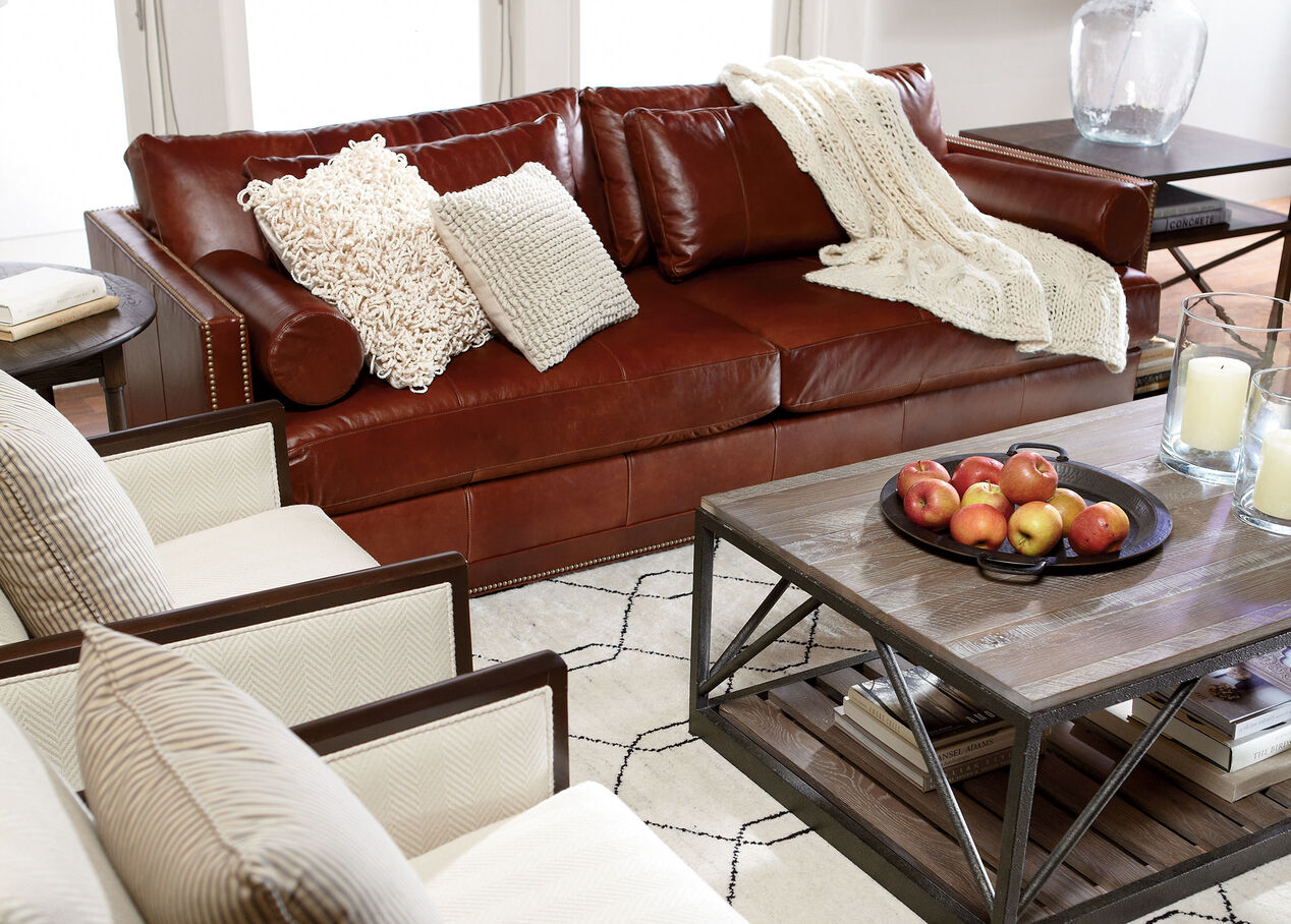 living room with leather couch abington leather sofa sofas amp loveseats ethan allen 22399