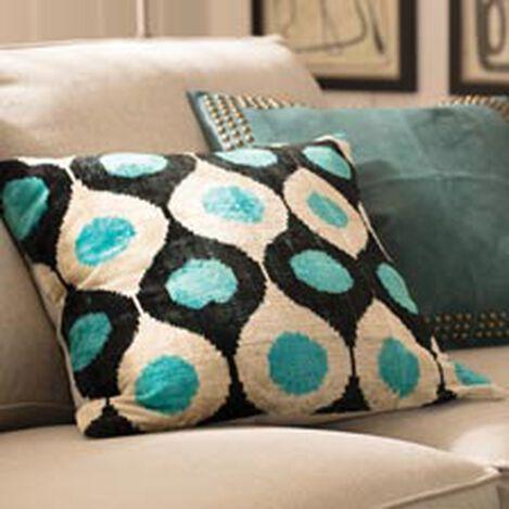 Silk Velvet Pillow, Turquoise ,  , hover_image