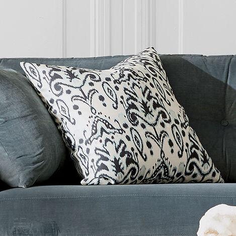 Silk Ikat Pillow, Blue/Black Product Tile Hover Image 061309