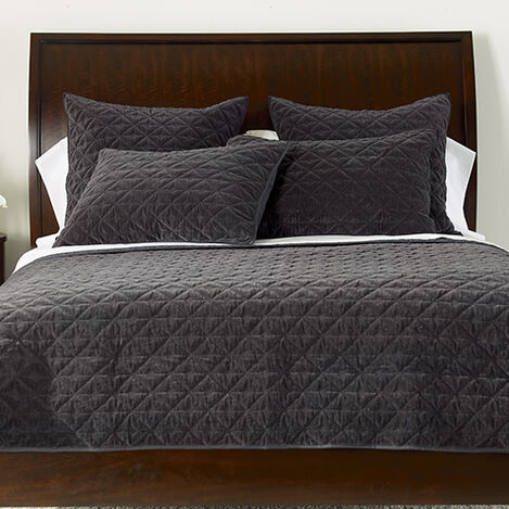 Gresham Charcoal Velvet Coverlet and Shams ,  , large