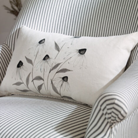 Hand-Painted White Cone Flower Pillow ,  , hover_image