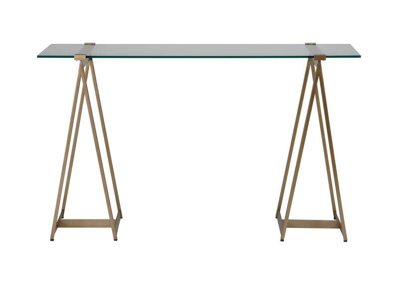 Verena Glass-Top Sawhorse Desk