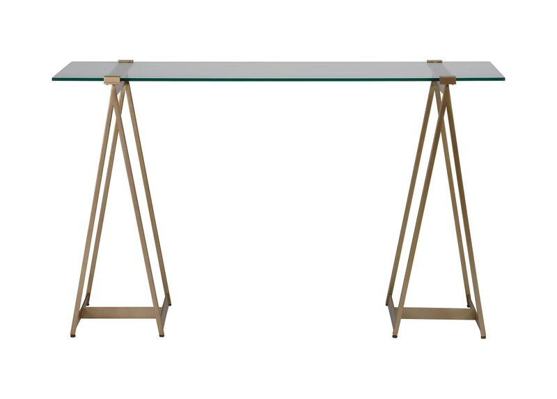 Verena Glass-Top Sawhorse Desk