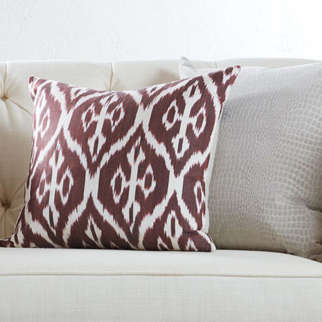 Silk Ikat Pillow, Smoky Rose Product Tile Hover Image 061305