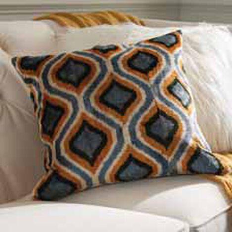 Silk Velvet Pillow, Blue/Gold ,  , hover_image
