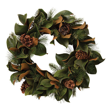 "24"" Magnolia Leaf and Evergreen Wreath Product Tile Image 442236"