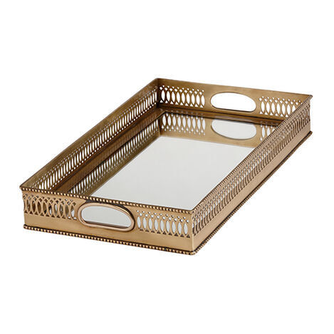 Rectangular Mirrored Brass Tray ,  , large