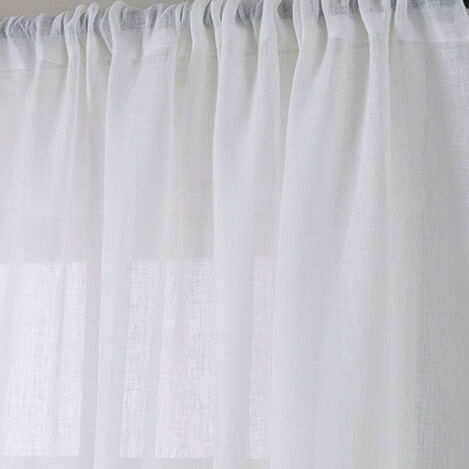 White Linen Sheer Fabric ,  , large