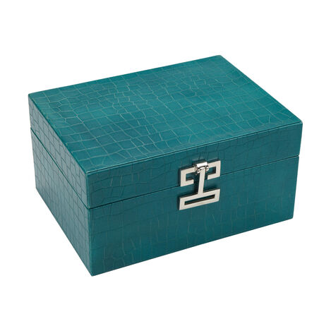 Small Turquoise Croc Box ,  , large