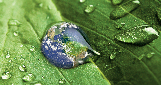 water drop with the Earth inside