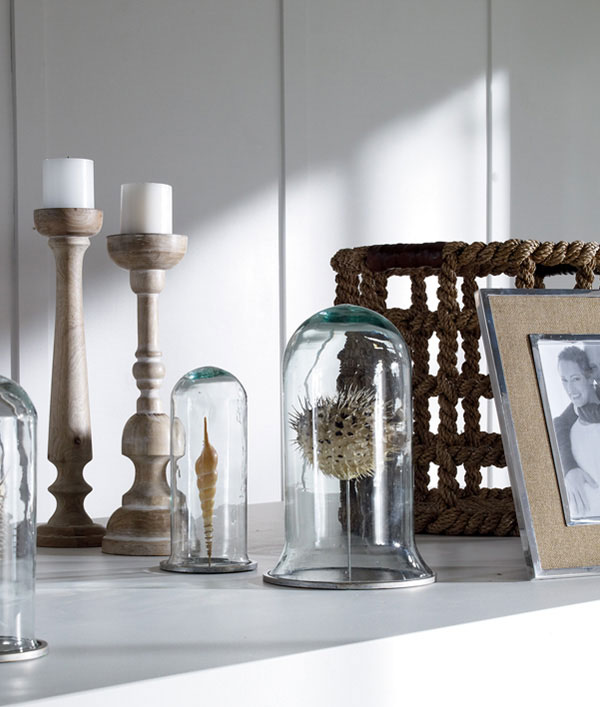 decorative accents, candle stick, cloche, basket, picture frame