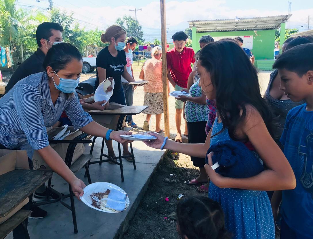 distributing hot meals