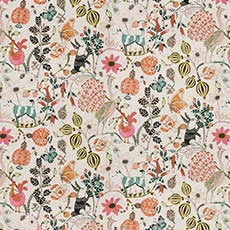 Nicolette Blush (G2412), whimsical cotton print Keynen Ottoman