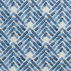 White/Blue Embroidered Chevron Pillow