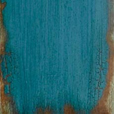 Aged Teal (304): Teal paint, highly worn edges show stained wood below, overall glazing, high sheen. Ming Media Cabinet