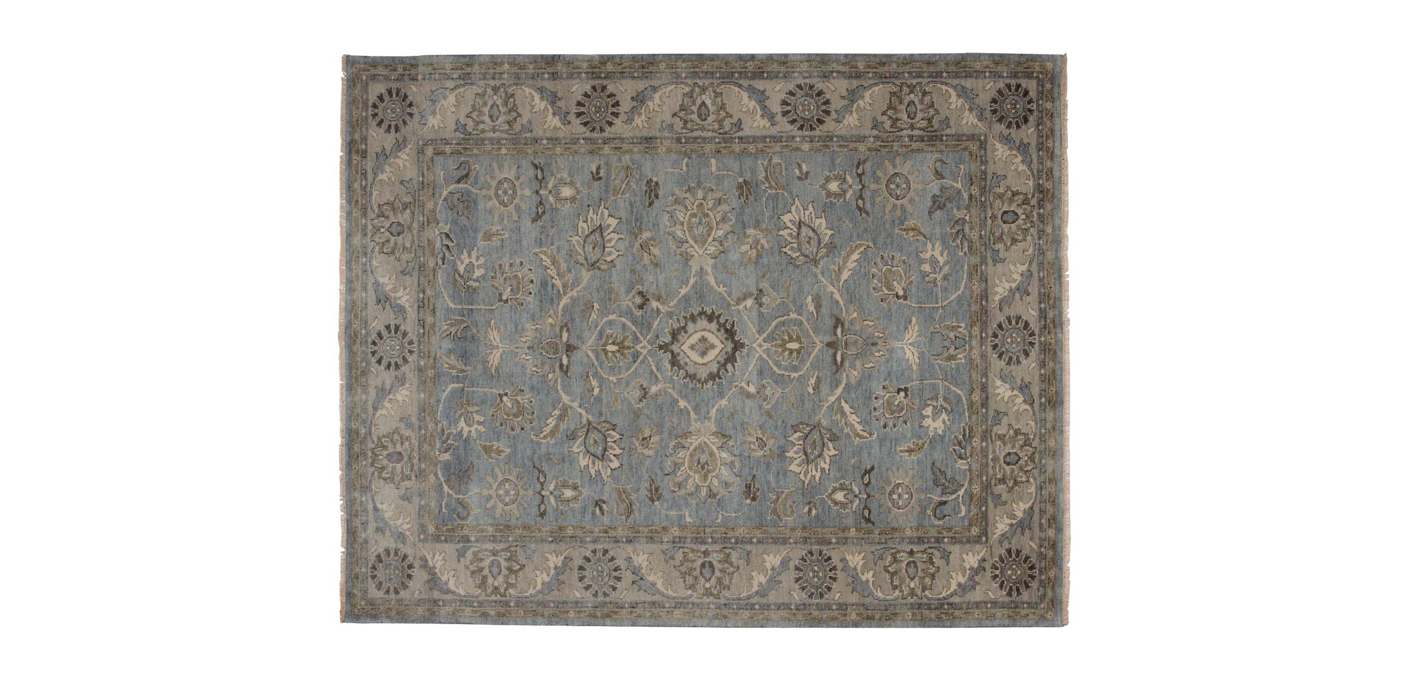 Suzain Rug Blue Gray Traditional Patterned Rugs Ethan