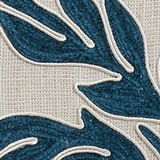 Teal Embroidered Linen Euro Sham