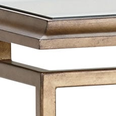 Goldtone (193): Hand-applied aged brass metal finish with light glaze. Beacon Console Table