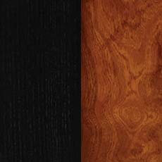 Eclipse/Viola (764): Soft satiny black paint paired with warm brown stain, glazed, lightly distressed. Armoire Vitrée Birkhouse