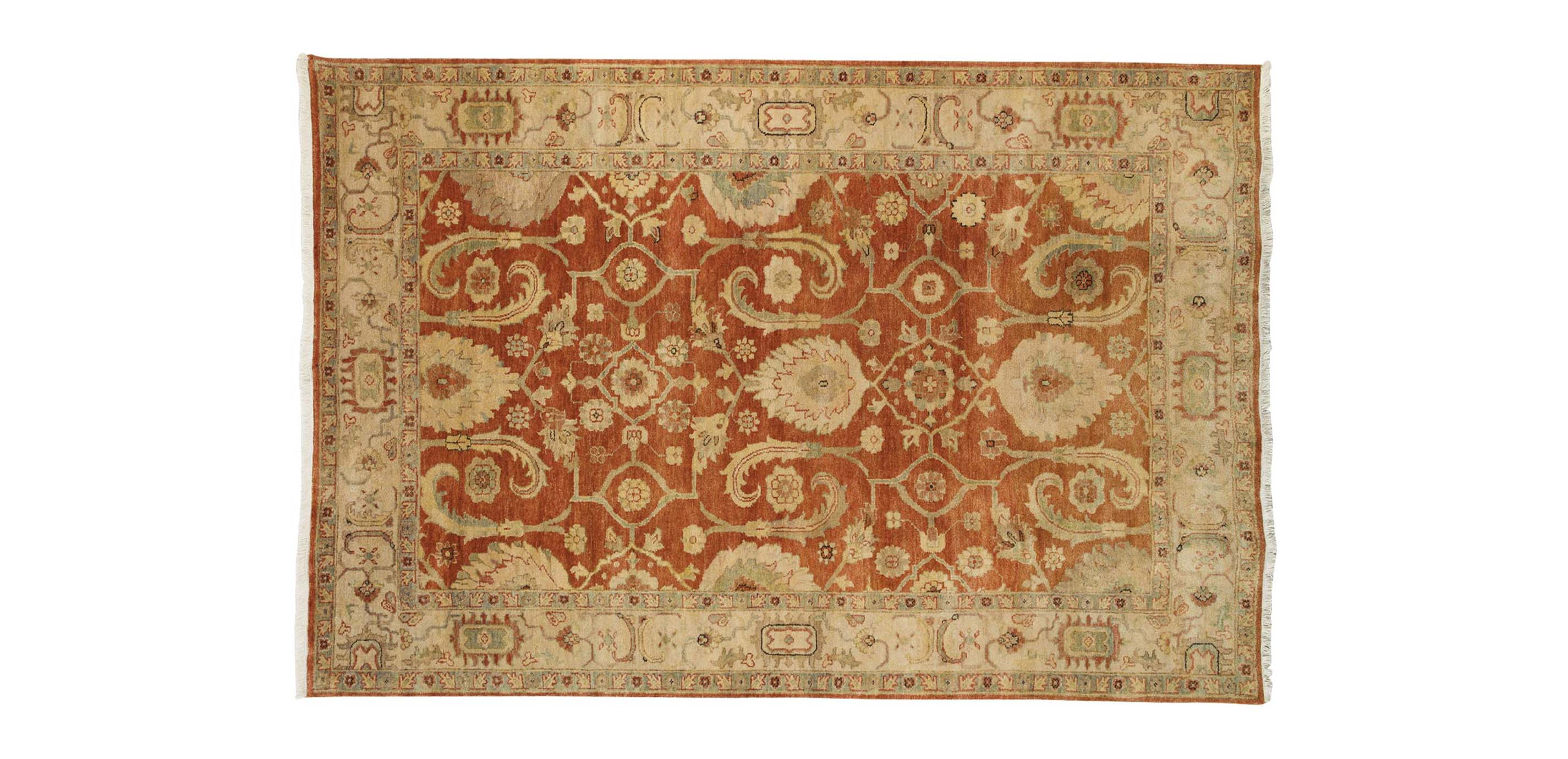 Indo Herat Rug Rust Ivory Traditional Patterned Rugs