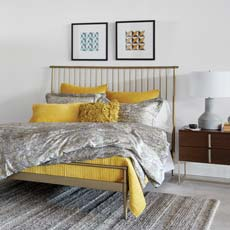 Danish Modern Bedroom in Citron and Gray Tile