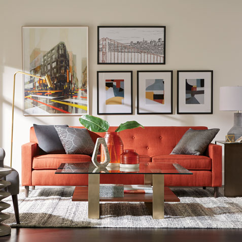 Gray and Orange Living Room Tile
