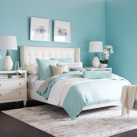 Billowy Blue & White Bedroom | Bedroom Designs Tile