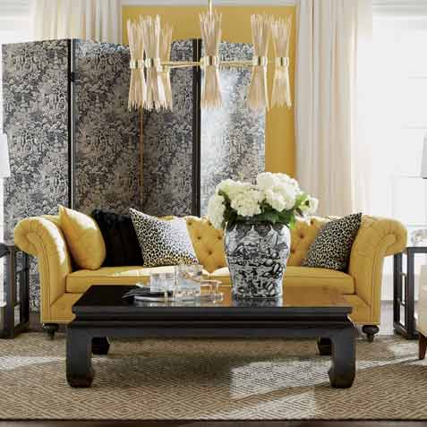 Yellow & Black Beauty Living Room Tile