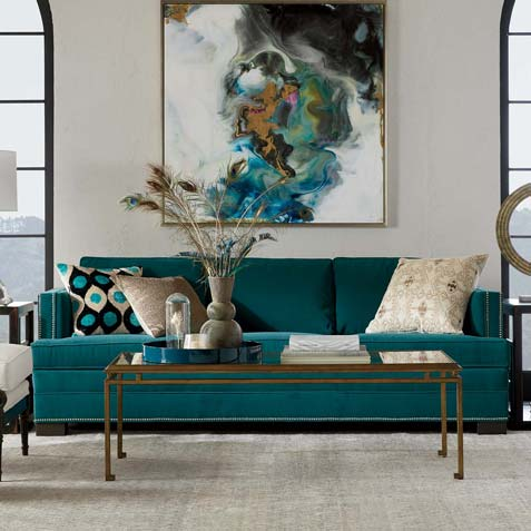 This Living Room Is The Real Teal Tile