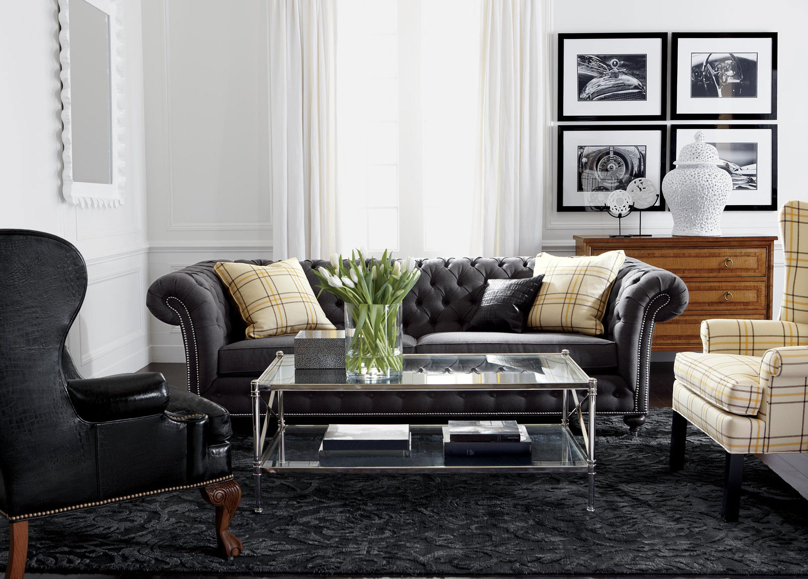 Classic chrome living room ethan allen for Modern living room furniture houston tx