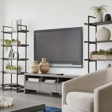 TV Room with a Modern Vibe Tile